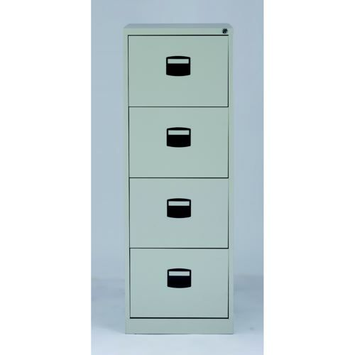 Trexus Filing Cabinet Steel Lockable 4-Drawer 470x622x1321mm Goose Grey