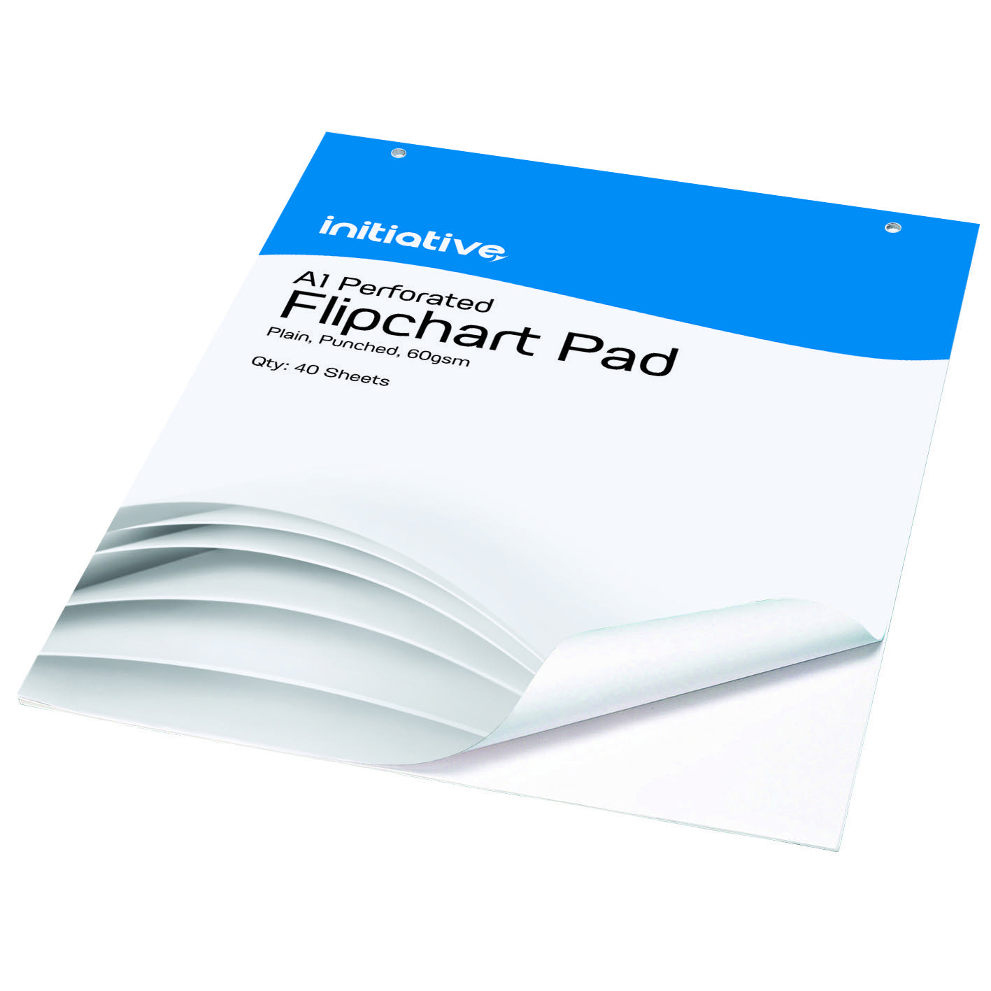 Image for Initiative Punched Perforated Flipchart Pad A1 60gsm White Bleedproof Paper 40 Sheets