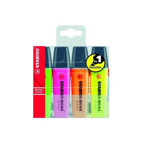 Stabilo Boss Highlighters Chisel Tip 2-5mm Line Assorted Wallet 4