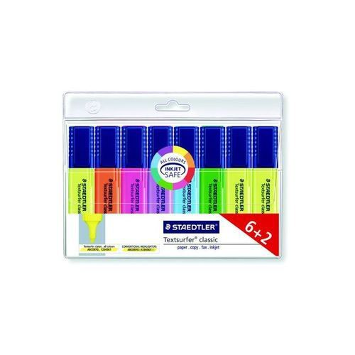 Staedtler Textsurfer Classic Highlighter Line Width 2.5-4.7mm Assorted Pack 6 + 2 FREE