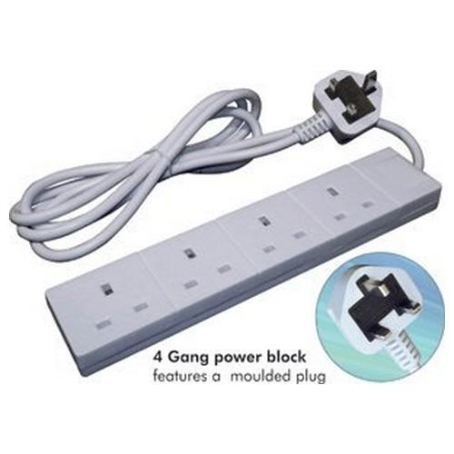 Connekt Gear UK 4-Gang Mains Power Extension Block 2m 27-4020