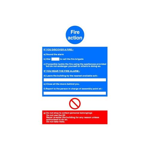 Fire Action Write On Sign 210x297mm Vinyl