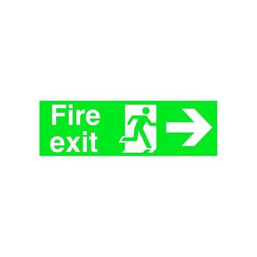 Stewart Superior Sign Fire Exit Arrow Right 450x150mm Self-Adhesive Vinyl