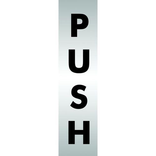 Brushed Aluminium Acrylic Sign Push