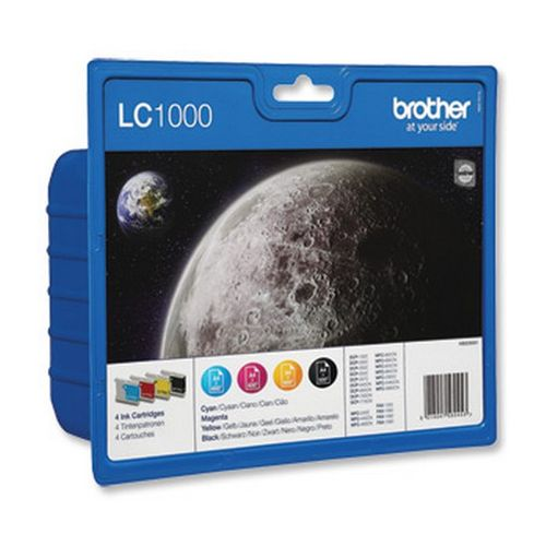 Brother LC-1000 Black /Cyan/Magenta/Yellow Inkjet Cartridge (Pack of 4) LC-1000VALBP