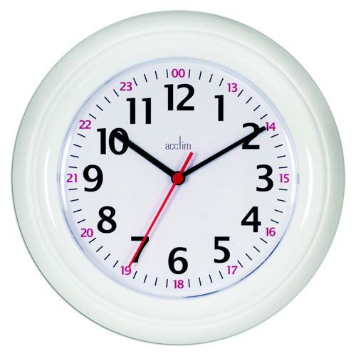 Image for Acctim Wexham White 24 Hour Plastic Wall Clock 21862