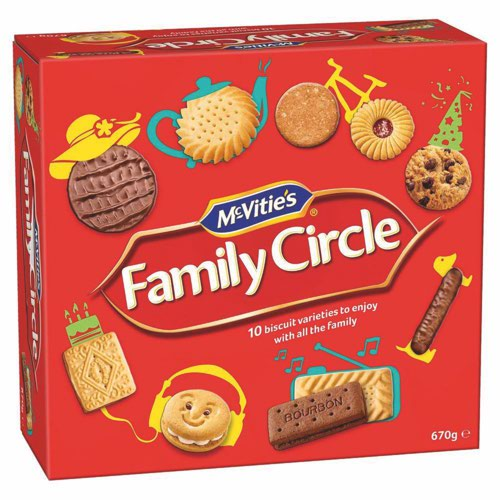 Crawfords Family Circle Biscuits Re-sealable Box 10 Varieties 855g Assorted