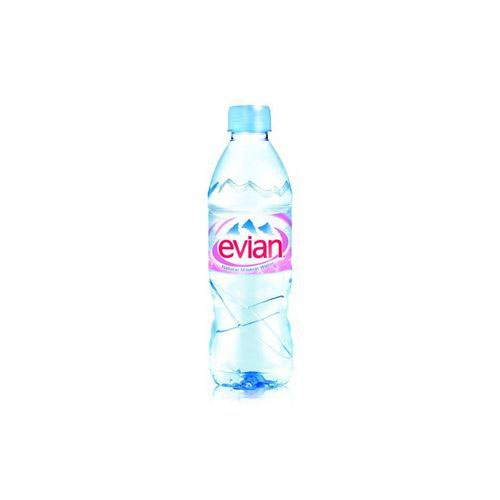 Evian Natural Mineral Water Bottle Plastic 500ml Pack 24