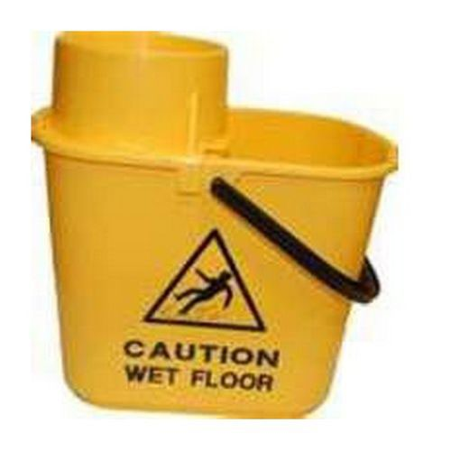 2Work Yellow Plastic Mop Bucket with Wringer 15 Litre 102946YL