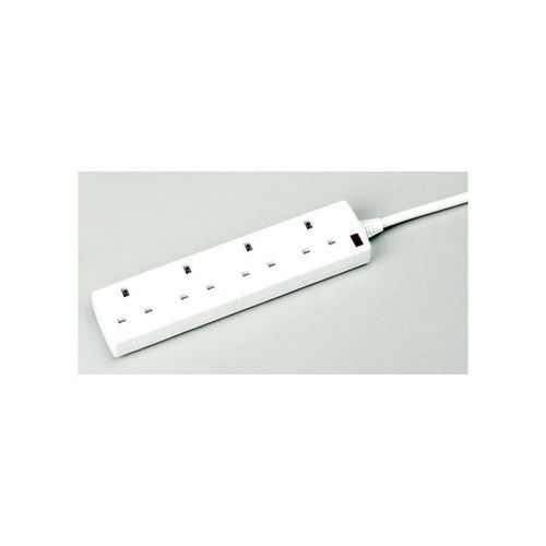 4-Way 13 Amp 2 Metre Extension Lead White With Neon Light CEDTS4213M