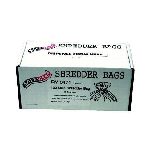 Safewrap 100 Litre Shredder Bags (Pack of 50) RY0471