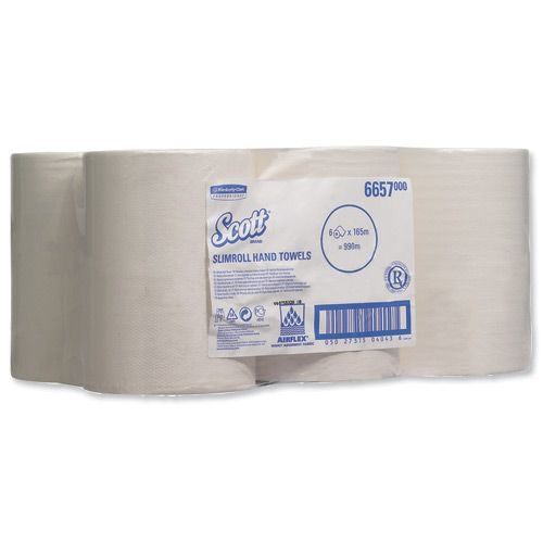 Scott White Slimroll 1 Ply Hand Towel Roll (Pack of 6) 6657