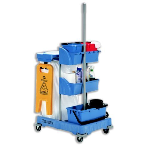 Numatic Xtra-Compact XC-1 Cleaning Trolley with 3 Buckets and 2 Tray Units W570xD820xH1060mm