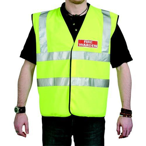 Guardian Fire Identifying Vest High Visibility Yellow with Fire Warden Reflective Logo