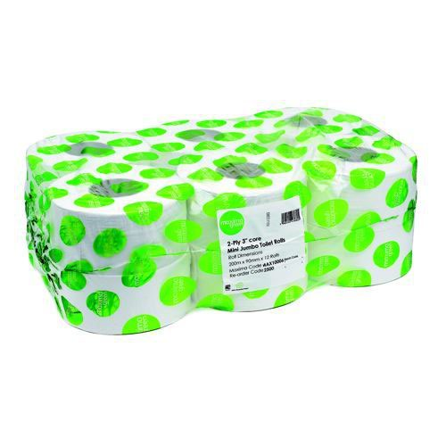 Mini Jumbo Toilet Roll Recycled 2 Ply 3 Inches Core 200m Pack 12