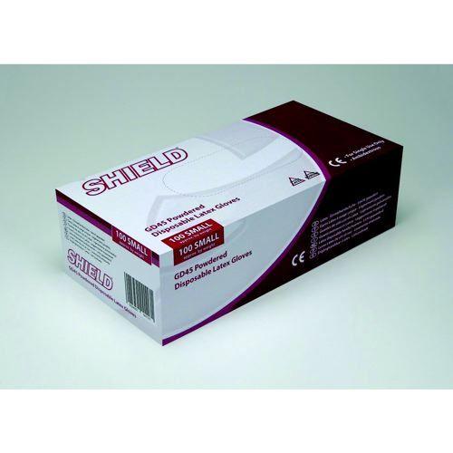Shield Powdered Latex Gloves Small Natural Pack 100