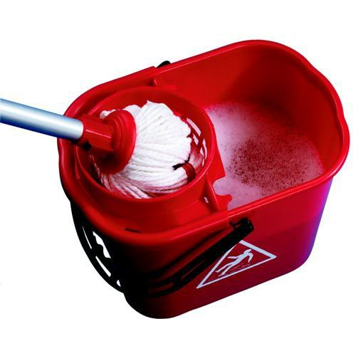 2Work Red Plastic Mop Bucket with Wringer 15 Litre 102946RD