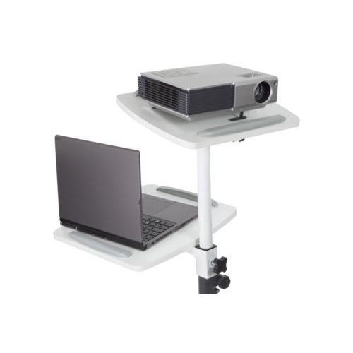 Properav Mobile Trolley White For Laptops And Projectors 700-1100mm 10Kgs