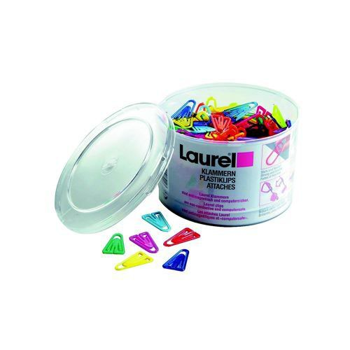Laurel Plastic Paper Clips 25mm Assorted Pack 500