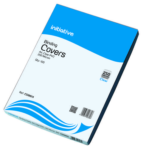 Initiative PVC Binding Covers A4 250 Micron Clear Pack 100