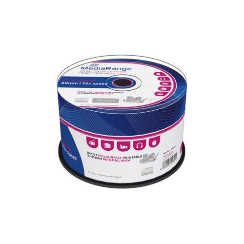 Mediarange Cd-R 700Mb 80Min 52X Speed Inkjet Fullsurface Printable Cake 50