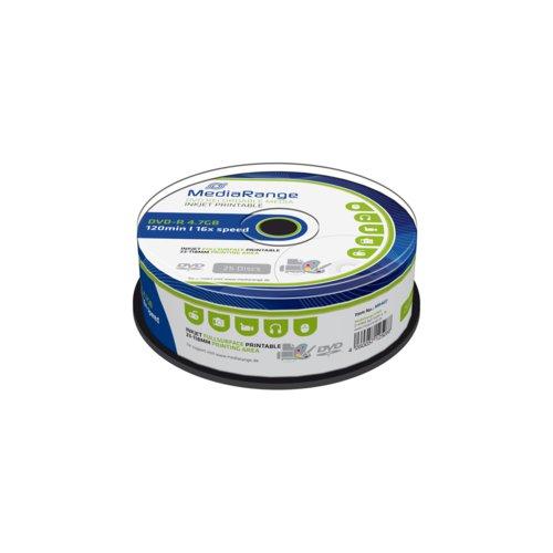 Mediarange Dvd-R 4.7Gb 120Min 16X Speed Inkjet Fullsurface Printable Cake 25