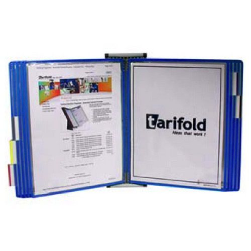 Tarifold A4 Wall Display Unit with 10 Blue Pockets