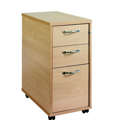 3 Drawer Tall Narrow Locking Mobile Pedestal With Handles Beech 300Wx600Dx630H