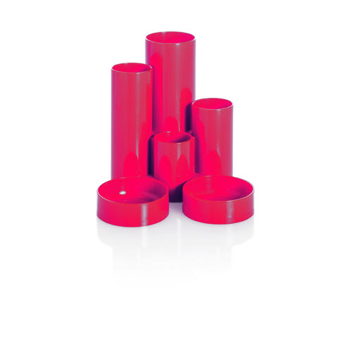Basic Desk Tidy with 6 Compartment Tubes Red