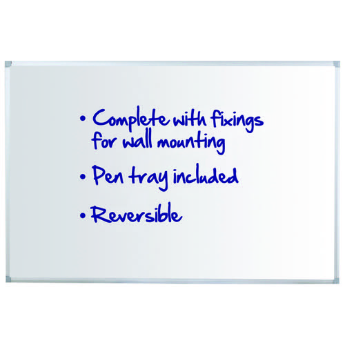 Initiative Reversible Non Magnetic Drywipe Board Aluminium Frame With Pen Tray 1200x900mm (4x3)