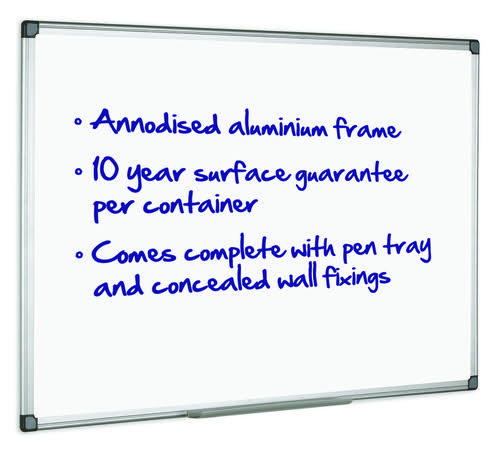 Initiative Magnetic Drywipe Board Anodised Aluminium Frame With Clip-on Pen Tray 1200x900mm (4x3)