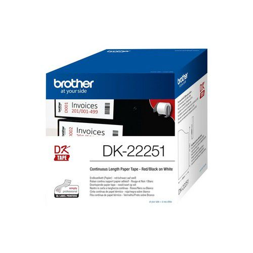 Brother QL Paper Labelling Tape Continuous Roll Black and Red on White 62mmx15.24m DK-22251