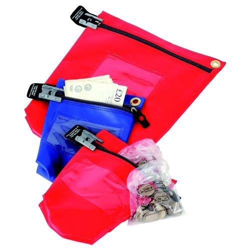 Versapak Cash Bag Tamper-Evident Zip Heavyweight Material Medium W267xD50xH267mm Red