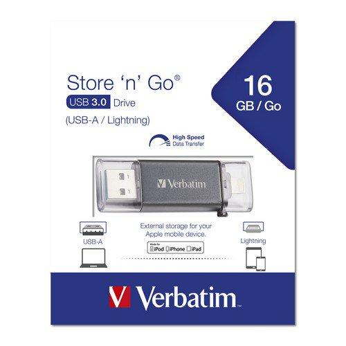 Verbatim Store N Go Lightning 3.0 Usb Drive 16Gb Black
