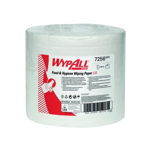WypAll L10 Food & Hygiene Wiping Paper 6222 - 1 Ply Dry Cleaning Wipes - 6 White Centrefeed Rolls x