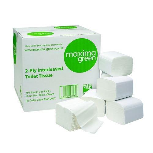 Toilet Tissue Bulk Recycled 2-Ply Interleaved For Dispenser 250 Sheets White Pack 36