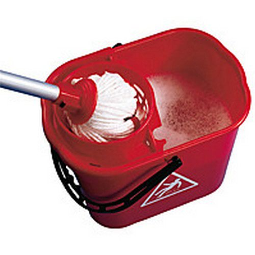 Charles Bentley Duo Mop Bucket Colour-Coded 7/8 Litre Sections Total 15 Litre Red