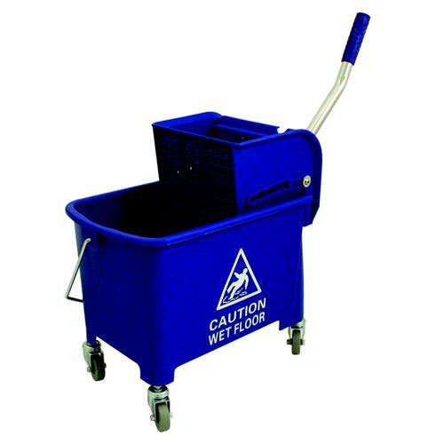 Charles Bentley Mop Bucket Mobile Colour-Coded with Handle 4 Castors 20 Litre Blue