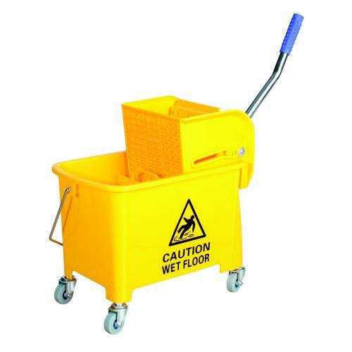 Charles Bentley Mop Bucket Mobile Colour-Coded with Handle 4 Castors 20 Litre Yellow