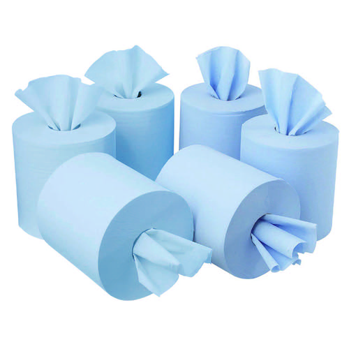 Initiative Centrefeed Roll 150m Blue Two-Ply 175 x 417 sheets Pack 6