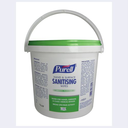 Purell Hand & Surface Sanitising Wipes 225CT Bucket