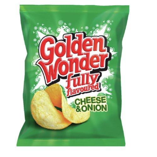 Golden Wonder Cheese & Onion Crisps 32.5g Pack 32