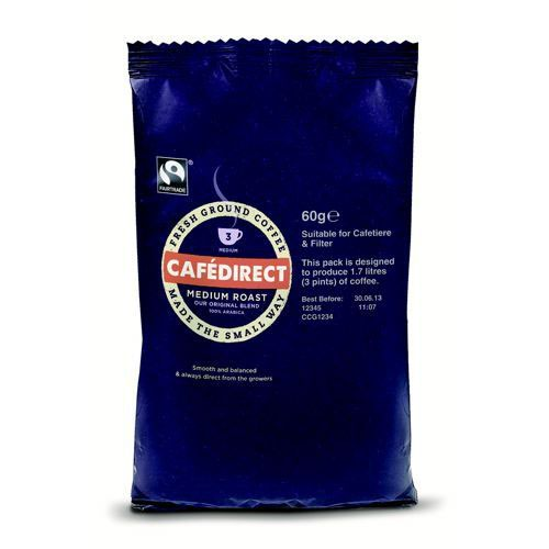 Cafe Direct Medium Roast Coffee 60g 3 Pint Sachet Pack 45