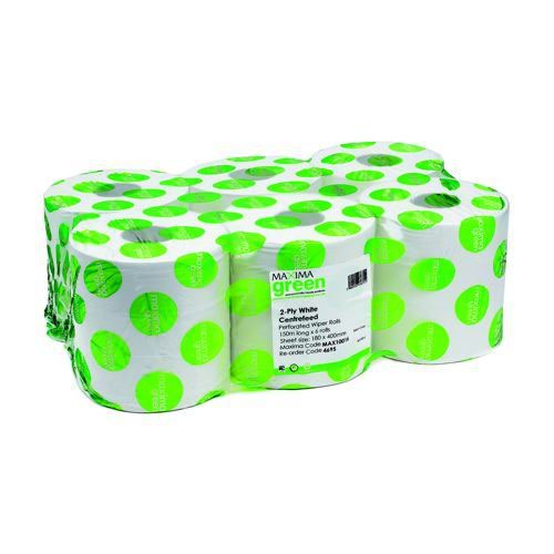 Centre Feed Roll Recycled 2 Ply 150m White Pack 6