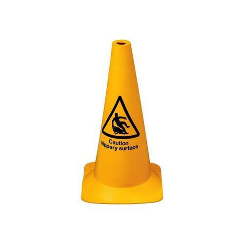 Cone Hazard Warning With Caution Slippery Surface 50cm Yellow