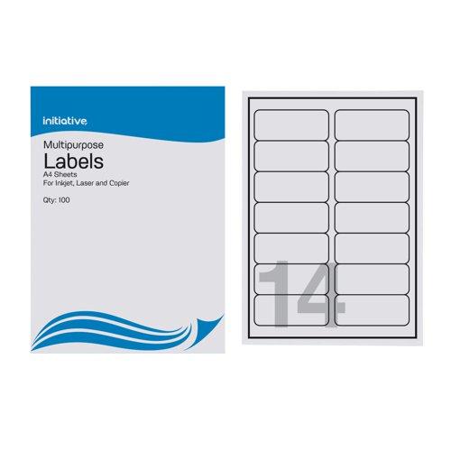 Initiative Multipurpose Labels 99.1 x 38.1mm 14 per Sheet Pack 100