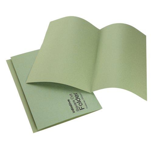 Initiative Square Cut Folders Mediumweight 250gsm Foolscap Green