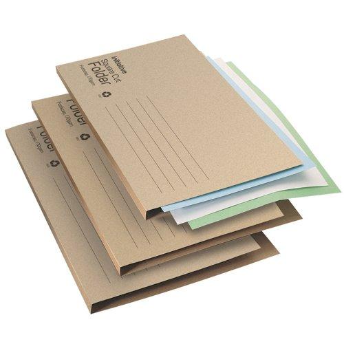 Initiative Economy Kraft Square Cut Folders 170gsm Foolscap Buff