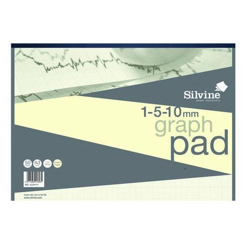 Silvine Designer Graph Pad 1mm 5mm 10mm Grid A4