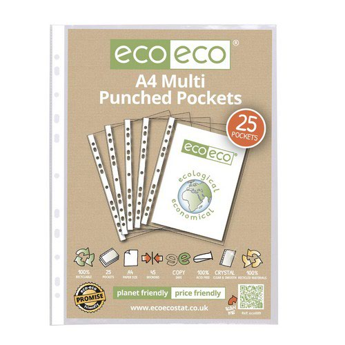 Eco A4 100% Recycled Bag 25 Multi Punched Pockets